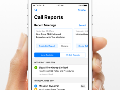 Recent Meetings create ios list call report calendar