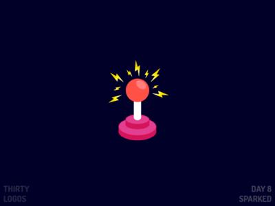 Sparked Logo day 8 joystick game sparked identity brand vector illustration design logo