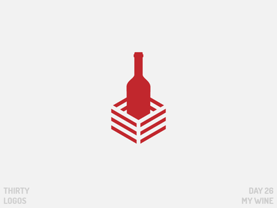 Thirty Logos: My Wine thirty logos negative space day 26 bottle wine identity brand vector illustration art design logo