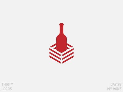 Thirty Logos: My Wine thirty logos negative space day 26 bottle wine identity brand vector illustration art design logo