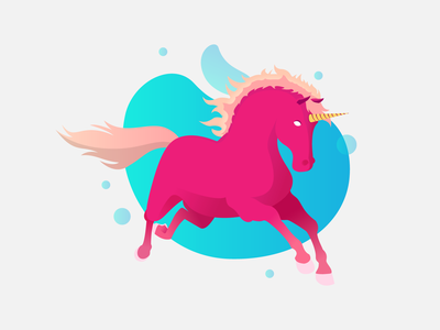 Majestic Unicorn creature mythical animal fluid minimal pink gradient colorful horse design art illustration unicorn