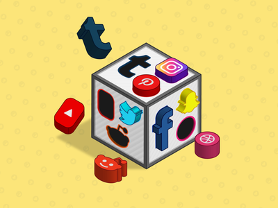 Social Media Puzzle Box object graphic abstract vector emoji inspiration network social media shapes design blocks creative 3d box puzzle media social editorial art illustration