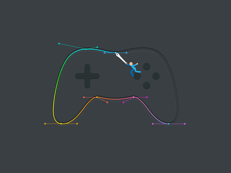 Bezier Game Controller play stick figure editorial abstract creative curves color flat minimal bezier game pen tool controller game bezier vector illustration art design
