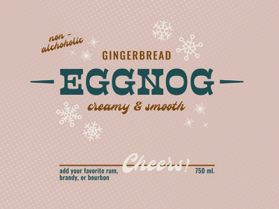 Eggnog Bottle Label alcohol snowflake snow holiday beverage drink typography type mockup christmas eggnog