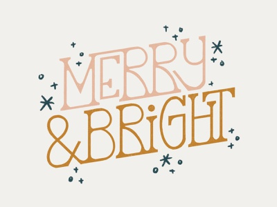 Merry & Bright vector branding design illustration december holiday color typography handlettering type christmas tree christmas