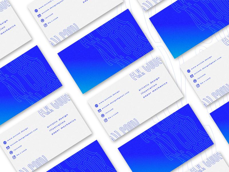 A.V. Cook business cards typography design concept brand graphic experimental logo warp digital business card branding
