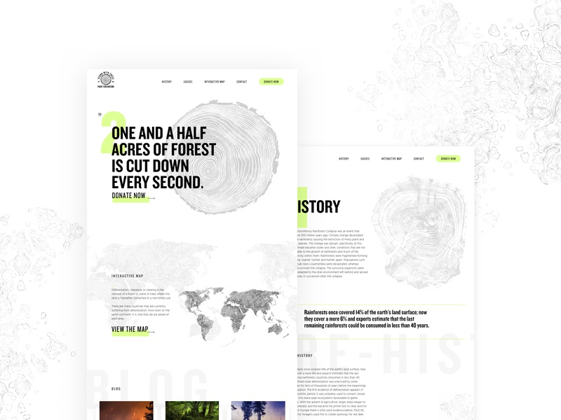 Deforestation Website typography redesign branding minimal concept bold trees condensed climate neon modern clean forest green ui ux environment deforestation web design website