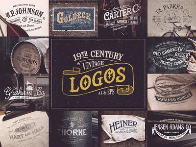 19th Century Vintage Logos stamp insignia typography kit pack free font premium retro vintage logo logos