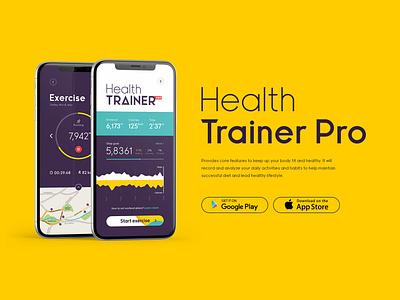 Health Trainer Pro minimal website flat animation web app icon ux premium letter type font lettering design logo typeface branding ui typography