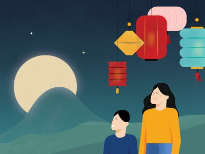 Mid Autumn Festival adobe photoshop festival lantern moon character vector autumn fall design illustration illustrator