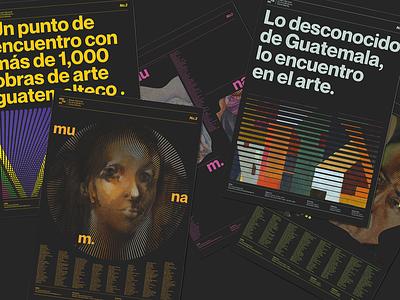 munam. modern art typography guatemala art branding design black posters branding