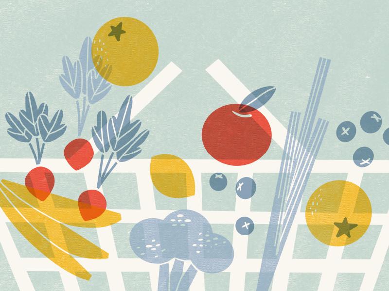Trust in Produce procreate vector screenprint editorial illustration food midcentury midcenturymodern illustration
