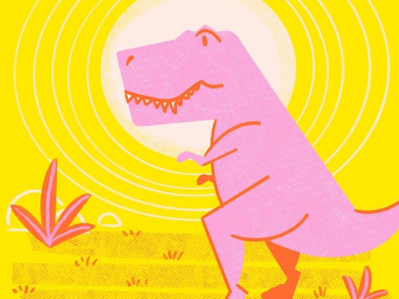 Tina the T-Rex geometric vector illustration procreate risograph screenprint dinosaur illustration