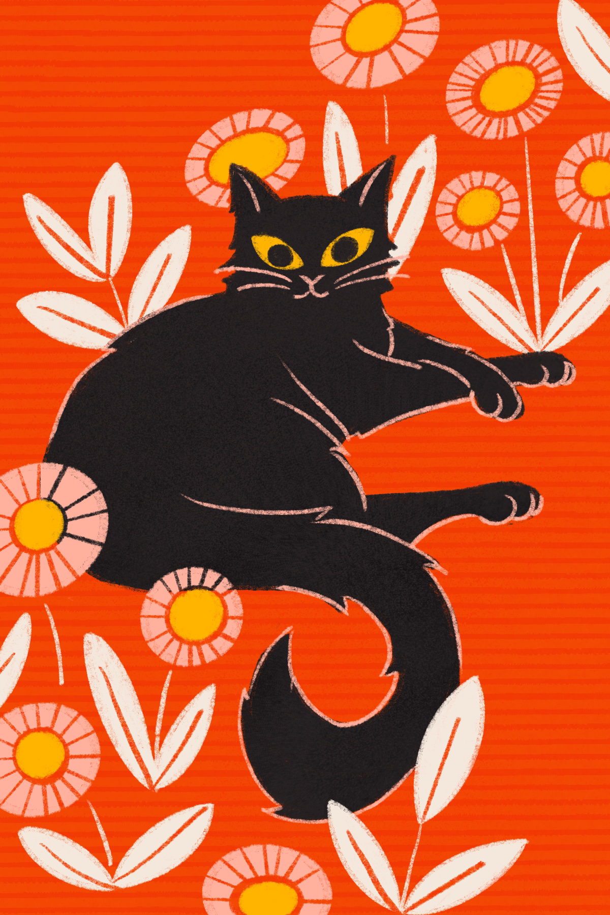 Black Cat cat floral drawing procreate illustration