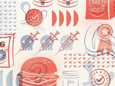 Food Transparency in America editorial illustration food lockup branding pattern design pattern procreate vector design illustration