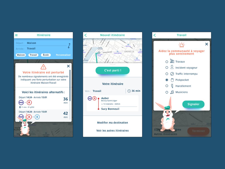 Public transport app flat vector colorful interface design illustration app design ux ui mascotte paris metro bus travel map transport public app