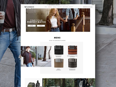 SlideBelts Inc. Homepage Revamp redesign company womens mens branding belts revamp website webdesign layout ui design ux design