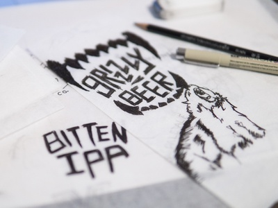 Grizzly Beer Sketches process sketch label illustrator concept ipa bear logo beer brewery identity branding