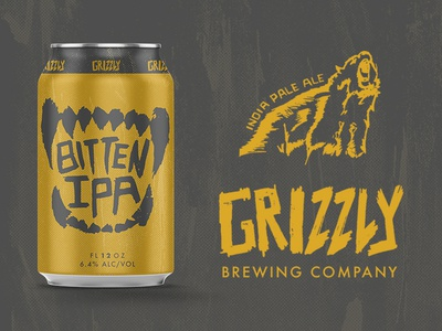 Grizzly Beer Bitten IPA mockup can logo label ipa illustrator identity concept brewery branding beer bear