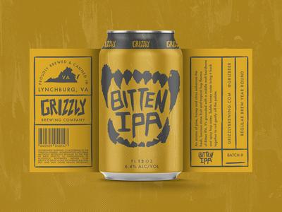 Bitten IPA Label mockup logo label ipa illustrator identity concept can branding brewery beer bear