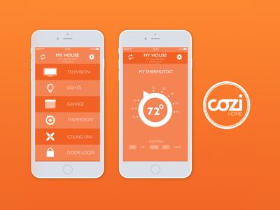 Cozi Home App II iphone mobile orange concept logo design user experience user interface uxui app design home app branding