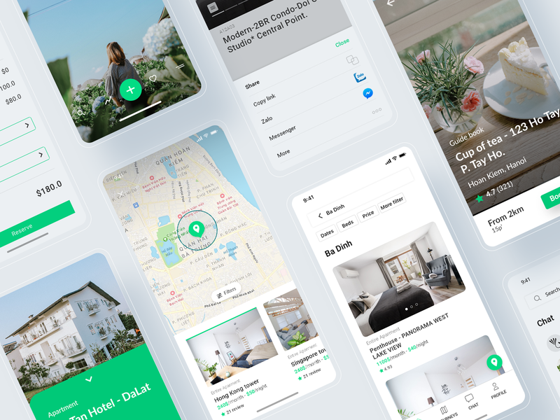 UI APP LILYHOMETEL vietnam guidebook coffee apartment experience tour travel ui