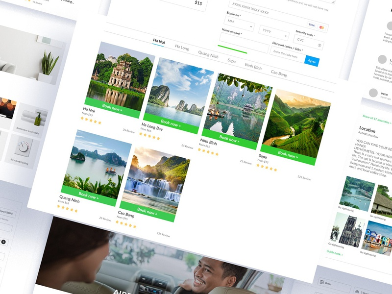 Layout web design by Lilyhomtel apartment booking tour payment transport travel green mockup uxui