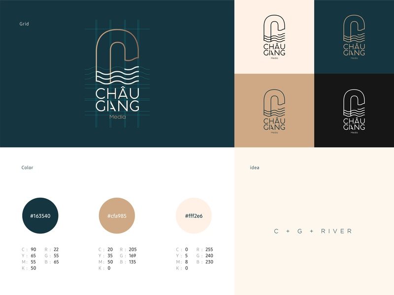 CG Media - ChauGiang Brand grid design illustrator cg river media logo identity branding