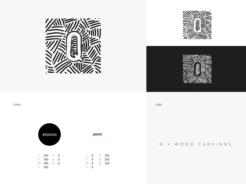 Q workshop Brand woodcarvings typography black and white q workshop design identity branding logo