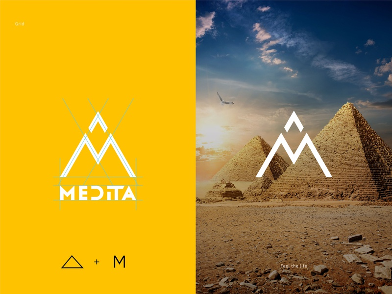 Medita - Essential oils 2 pyramid essential oils design illustration identity branding logo