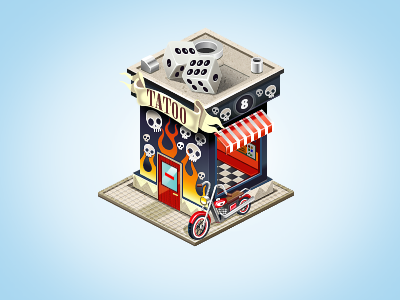 Tatoo Studio building game tatoo scull social bike flame construction pixel perfect isometric