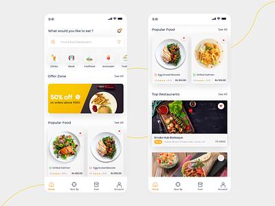 Food App - home page minimal typography flat clean app design online ux ui mobile