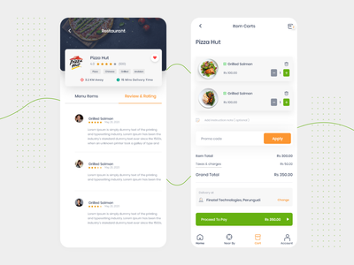 Food App -  review & cart view ios passion work typography flat clean design mobile ux ui app