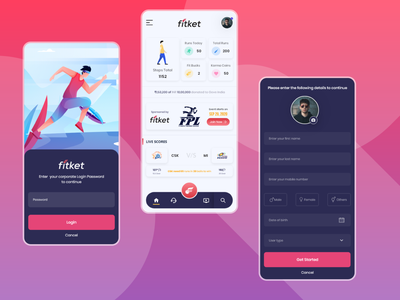 Sports App - Fitket typo minimal flat illustration clean passion work mobile ux ui design app