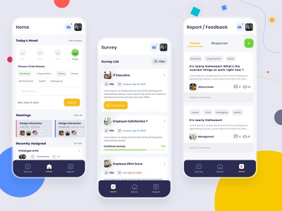 Employee Engagement - Mood, Survey, Report &Feedback online lettering branding ios typography minimal flat icon clean passion work mobile ux ui design app