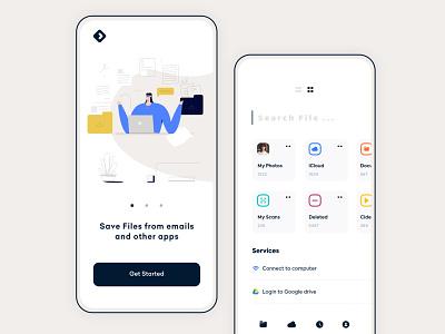 File Management minimal flat clean mobile app ux ui design