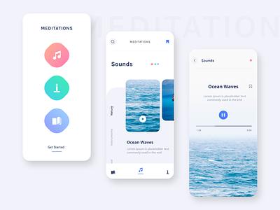 Meditation App Exploration lettering brand flat clean typography minimal animation vector branding online web ios icon ui passion work ux mobile design app