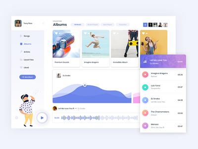 Web App - Music Player flat clean web icon passion work ux ui mobile design app