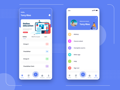 Education App ( Home / Profile ) clean flat web ios passion work ux ui mobile design app