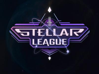 Stellar League Logo game purple space card sf typography illustrator vector logo design graphic