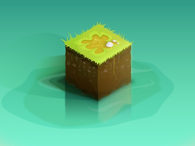 Iso scene test project wip cube water green illustration game isometric iso graphic