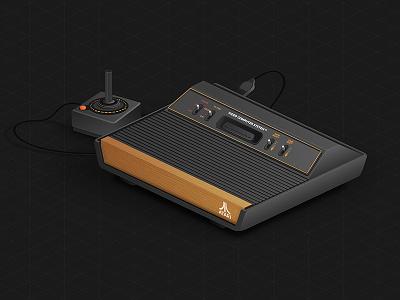 Atari 2600 adobe illustrator design old atari game console vintage vector illustration
