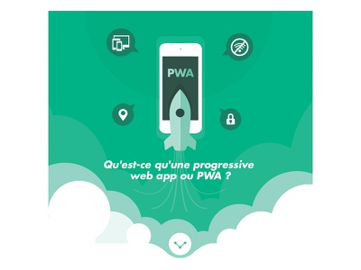 PWA Infographics speed green cloud mobile phone rocket illustration seo google pwa infographic graphic