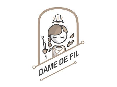 Dame de fil creator line branding design logotype identity visuel logo