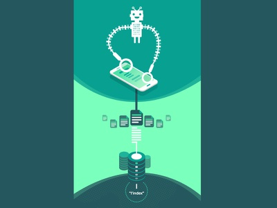Mobile First Indexing data robot blue green mobile phone illustration seo google rwd infographic graphic