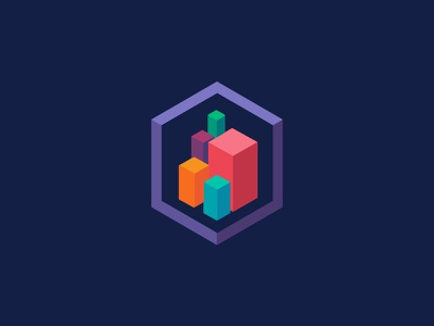 Logo Iso purple icon geometric color cube graphic isometric iso brand logo