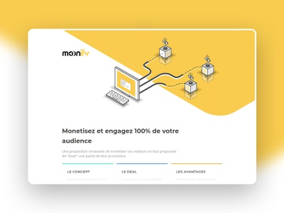 Moonify Landing Page cpu platform monetization business mining blockchain iso web site design vector ui icon graphic illustration
