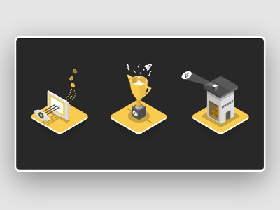 Illustration Moonify vector reward blockchain mining yellow web icon isometric graphic ui illustration