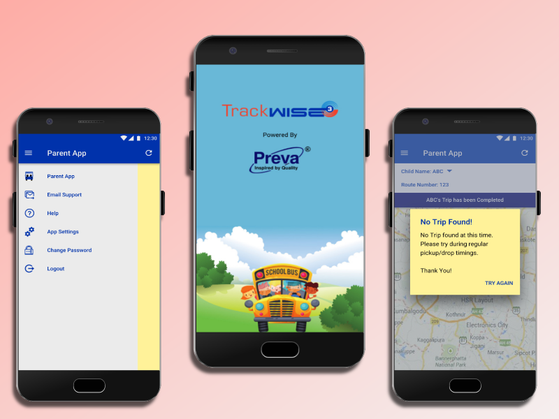Redesign of School Bus Tracking App for Parents ios android product design trackwise3 parent app school bus tracking mobile app design design ui  ux design illustration gravit designer graphic design