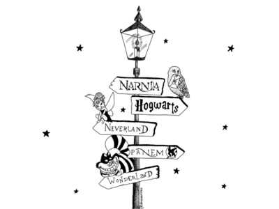 Worlds to escape to design digital art harry potter jkrowling books wonderland panem neverland hogwarts narnia fantasy magic spell inktober 2018 inktober